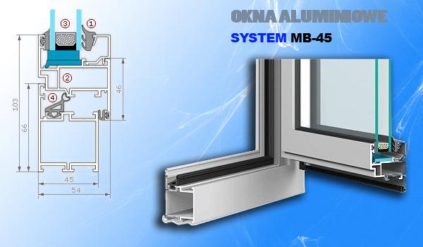 System okienny MB-45, tzw. zimny, służy do wykonywania niewymagających dużej izolacyjności termicznej elementów zabudowy zewnętrznej i wewnętrznej. Produkty wykonywane w tym systemie powstają z kształtowników jednokomorowych. Ich podstawową zaletą jest trwałość, różnorodność zastosowań i stosunkowo niska cena. System ten jest z powodzeniem stosowany w połączeniu z systemem MB-60, co pozwala tworzyć elementy architektoniczne o zmiennej izolacyjności termicznej. Umożliwia on również wykonywanie ścianek działowych, witryn, wiatrołapów, konstrukcji przestrzennych. Podobnie jak w przypadku systemu MB-60 istnieje możliwość gięcia tego profilu, co umożliwia tworzenie różnego rodzaju konstrukcji łukowych.